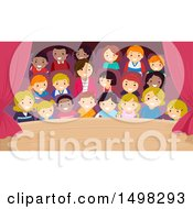 Clipart Of A Stage With A View Of The Crowded Audience Royalty Free Vector Illustration by BNP Design Studio