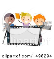 Clipart Of A Group Of Drama Class Kids With A Camera Film Strip And Clapper Board Royalty Free Vector Illustration