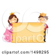Clipart Of A Boy And Girl In A Prince And Princess Costume Behind A Giant Ticket Sign Royalty Free Vector Illustration