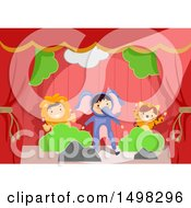 Clipart Of A Group Of Children In Animal Costumes On Stage Royalty Free Vector Illustration by BNP Design Studio