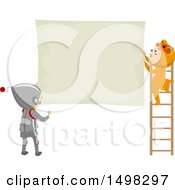 Clipart Of A Boy And Girl In Costumes Hanging A Sign Royalty Free Vector Illustration