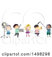 Clipart Of A Drama Class Team In Different Movie Filming Roles Royalty Free Vector Illustration