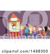 Clipart Of A Line Of Kids At A Ticket Booth Royalty Free Vector Illustration by BNP Design Studio