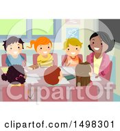 Clipart Of A Teacher And Group Of Children In A Council Meeting Royalty Free Vector Illustration