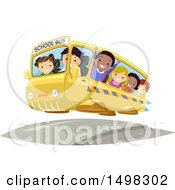 Clipart Of A Flying Futuristic School Bus Full Of Kids Royalty Free Vector Illustration by BNP Design Studio