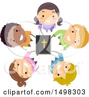 Clipart Of A Circle Of Children Holding Up A Bible Royalty Free Vector Illustration