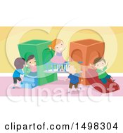 Clipart Of A Group Of Children Playing On An Indoor Playground Royalty Free Vector Illustration by BNP Design Studio