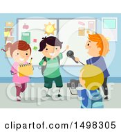 Clipart Of A Group Of Children During An Interview For School Royalty Free Vector Illustration