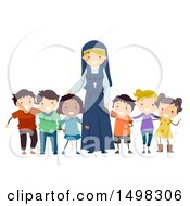 Clipart Of A Happy Nun With A Group Of Children Royalty Free Vector Illustration by BNP Design Studio