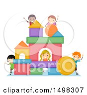 Clipart Of A Group Of Children Building A Structure From Shapes Royalty Free Vector Illustration by BNP Design Studio