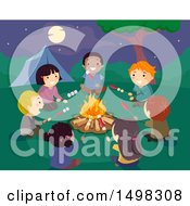Clipart Of A Group Of Children Rosting Hot Dogs And Marshmallows Around A Camp Fire Royalty Free Vector Illustration