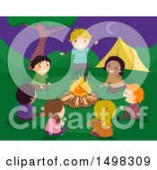 Clipart Of A Group Of Children Sharing Stories Around A Camp Fire Royalty Free Vector Illustration