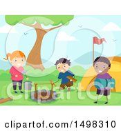 Clipart Of A Group Of Children Setting Up A Camp Site Royalty Free Vector Illustration