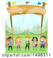 Clipart Of A Group Of Children Under A Camp Site Entrance Royalty Free Vector Illustration by BNP Design Studio