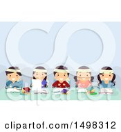 Clipart Of A Group Of Children In Cram School Royalty Free Vector Illustration
