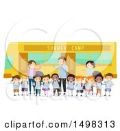 Clipart Of A Group Of Adults And Children By A Summer Camp Bus Royalty Free Vector Illustration by BNP Design Studio