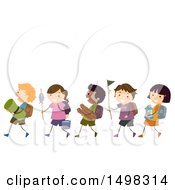 Poster, Art Print Of Line Of Children With Camping Gear