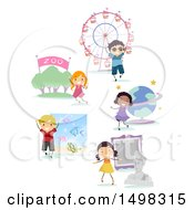 Clipart Of Happy Children At Different Locations For Field Trips Royalty Free Vector Illustration by BNP Design Studio