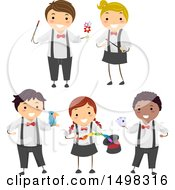 Clipart Of Boys And Girls Performing Magic Tricks Royalty Free Vector Illustration by BNP Design Studio