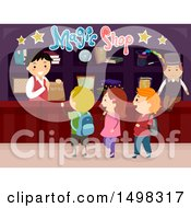 Clipart Of A Group Of Children In A Magic Shop Royalty Free Vector Illustration by BNP Design Studio