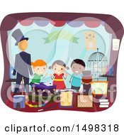 Clipart Of A Group Of Children Looking Through A Magic Shop Window Royalty Free Vector Illustration by BNP Design Studio