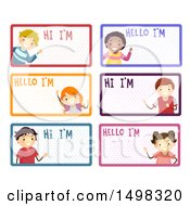 Poster, Art Print Of Children On Name Labels