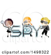 October 12th, 2017: Clipart Of A Group Of Children With Spy Text And Gear Royalty Free Vector Illustration by BNP Design Studio