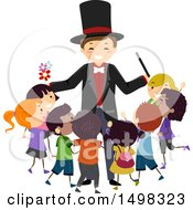 Clipart Of A Happy Magician Surrounded By Children Royalty Free Vector Illustration by BNP Design Studio