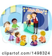 Clipart Of A Male Ventriloquist Entertaining A Group Of Children Royalty Free Vector Illustration