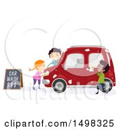 Clipart Of A Group Of Kids Washing A Car Royalty Free Vector Illustration