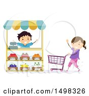 Clipart Of A Boy And Girl Playing Grocery Store Royalty Free Vector Illustration by BNP Design Studio