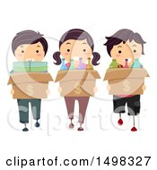 Clipart Of A Group Of Kids Recycling Items To Make Money Royalty Free Vector Illustration