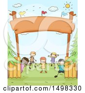 Clipart Of A Sketched Group Of Children Under A Camp Entrance Royalty Free Vector Illustration