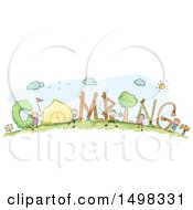 Clipart Of A Sketched Group Of Children And Camping Text Royalty Free Vector Illustration