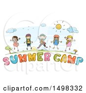 Poster, Art Print Of Sketched Group Of Children Over Summer Camp Text