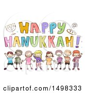 Clipart Of A Sketched Group Of Children Under A Happy Hanukkah Greeting Royalty Free Vector Illustration