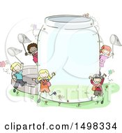 Clipart Of A Sketched Group Of Children With A Giant Bug Jar Royalty Free Vector Illustration by BNP Design Studio