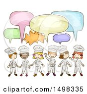 Sketched Group Of Chef Children Talking