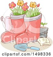 Clipart Of A Sketched Trowel With Garden Boot Planters Royalty Free Vector Illustration