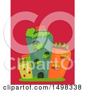 Clipart Of Buildings With Roof Top Gardens Royalty Free Vector Illustration