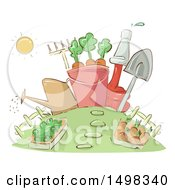 Clipart Of A Sketched Garden With Tools Royalty Free Vector Illustration