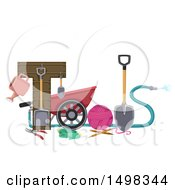 Clipart Of Gardening Tools Forming The Word Royalty Free Vector Illustration