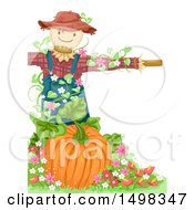 Clipart Of A Scarecrow Over A Pumpkin Royalty Free Vector Illustration