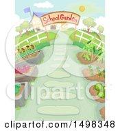 Clipart Of A School Garden Royalty Free Vector Illustration