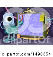 Clipart Of A Smart Alien Studying A Formula On A Board Royalty Free Vector Illustration by BNP Design Studio