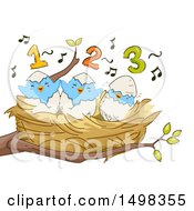 Clipart Of A Nest With Counting Birds Royalty Free Vector Illustration