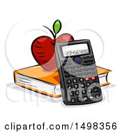 Clipart Of A Scientific Calculator With A Book And Apple Royalty Free Vector Illustration