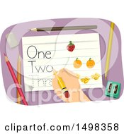 Clipart Of A Hand Tracing Words On Paper Royalty Free Vector Illustration