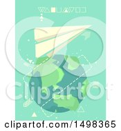 Clipart Of A Paper Plane Flying Around Planet Earth Royalty Free Vector Illustration by BNP Design Studio