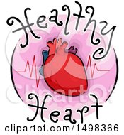 Clipart Of A Round Icon With A Heart And Pulse Royalty Free Vector Illustration